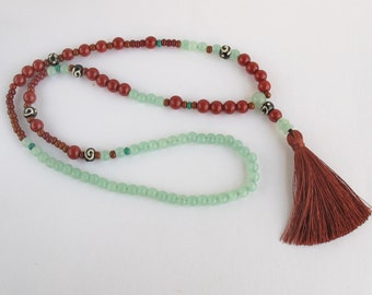 Beaded tassel necklace, Tassel necklace, Bohemian necklace, long tassel necklace, Boho necklace