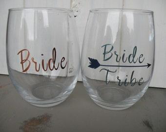 Bride and Bride Tribe Wine Glasses