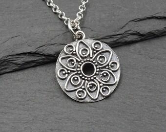 Mandala Necklace - Aztec Jewlery, zen jewelry, mandala jewelry, gift for women, silver necklace, mandala pendant