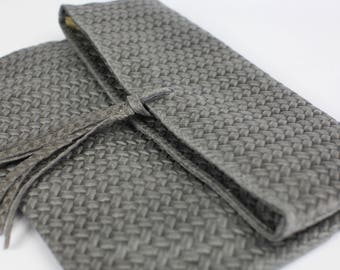 Grey Genuine Leather Clutch|Tassel Leather Bag|Leather Purse|Everyday Casual Bag|Natural leather bag|Elegant|Woven leather print|Minimalist