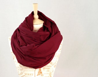 Chunky Scarf, Infinity Scarf, Maroon Scarf, Burgundy Winter Scarf Oversized Cowl Scarf, Hooded Circle Scarf, Wife Gift, Mom Gift for Her