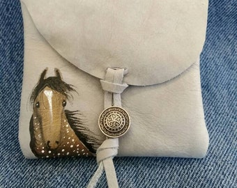 Pretty horse Handpainted on a leather purse