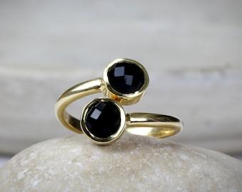 SUMMER SALE - Gold multistone rings,stacking ring,double ring,bezel set ring,snake ring,gold ring,black onyx ring,gemstone ring