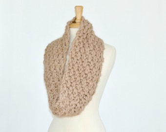 Warm Winter Knitted Cowl, Infinity Scarf, Beige Alpaca Double Thick, Unisex Neck Warmer