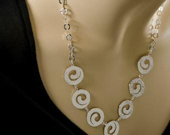 Sterling Silver Spirals Necklace, hammered silver necklace, silver statement necklace, inspirational necklace