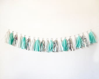 Tassel Garland | Tassel Banner | Aqua, silver, and White with silver flake tassel garland | Blue box inspired party decor | Robin's egg blue