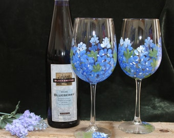 Hand Painted Wine Glasses - Bluebonnets (Set of 2)