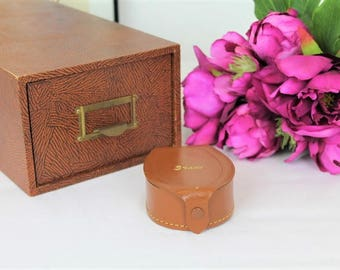Vintage Leather Link/Stud Box/Leather Case/Earring Box/Leather Trinket Box   SALE  (9K)