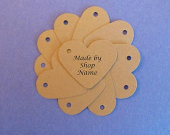 100 kraft tags free US shipping heart tags jewelry tags small tags gift tags price tags hang tags craft supplies custom tags made by tags