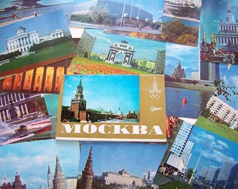 Soviet Postcards. Views of Moscow. USSR 1978. Set of 15 color postcards. Russian capital