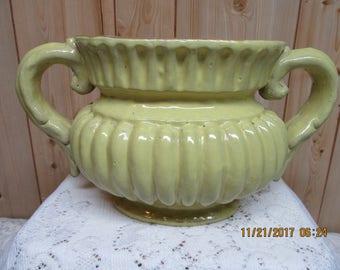 Vintage Yellow Stoneware Vase or Planter