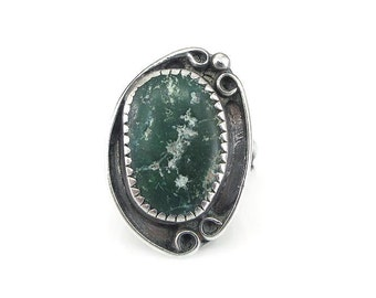 Native American Sterling Green Turquoise Ring - Green Turquoise, Raw Turquoise, Sterling Silver, Vintage Ring, Size 5.5