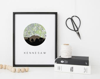 Kennesaw, Georgia skyline print | Kennesaw mountain art print | Kennesaw map print | Georgia wall art | Atlanta GA decor | Georgia print