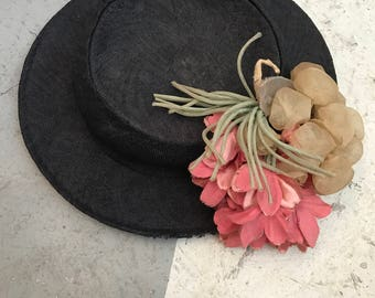 1930s hat straw hat navy blue hat tilt hat flower hat summer hat 30s hat vintage hat victorian style hat with flowers antique hat