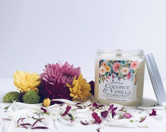 COCONUT & VANILLA Wood Wick Soy Candle   16 Ounces