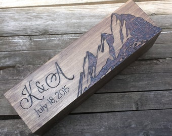 Mountain wine box, wedding wine box, anniversary wine box, custom wine box, personalized box, wine gift box, wine crate, wedding ceremony