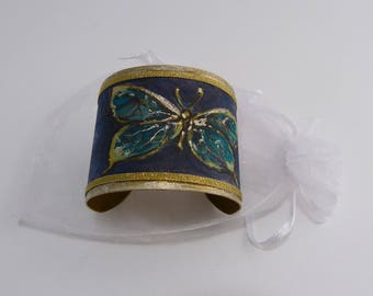 Silk Cuff Bracelet hand painted blue, mother's day gift, night Peacock