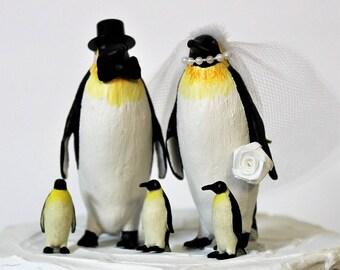 Penguin Cake Topper, Emperor Penguin, Family, Unique Cake Topper, Bride and Groom, Animal Cake Topper, Black and White Cake