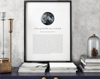 PRINTABLE Valentine's Day Wedding Vows Keepsake Print for Newlyweds & Anniversaries - I Love You to the Moon