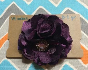 0-1 Year Old Sized Purple Chiffon Flower Headband w/ Jewel Center (14 inches)