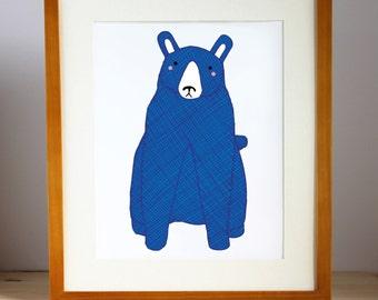 Blue Bear Print, Bear Nursery Art, Bear Art, Kid's Bear Art, Kid Decor, Boy Bear Print, Nursery Decor, Bear Print, Bear Decor, Bear Wall Art