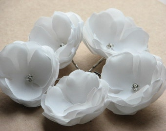Set of 5 ivory flowers Wedding hair flower Ivory hair flower Ivory hair pin Wedding flower Ivory wedding pin Wedding headpiece Ivory pin