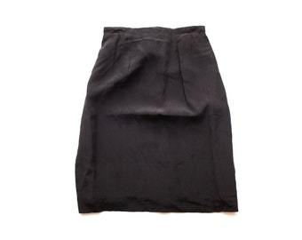 Minimal Black Silk High-Waist Pencil Skirt | XS S | Vintage