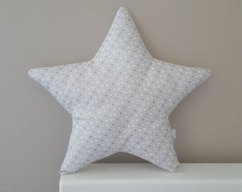 Star cushion - soft grey, white gold hearts. Modern nursery bedroom decor. baby gift. decorative pillow. New baby present. Baby shower gift