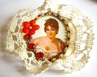 Large textile brooch vintage cabochon, swarovski crystal