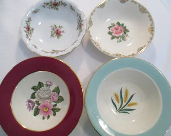 Vintage Mismatched China Dessert / Fruit Bowls for Tea Parties,Bridal Luncheons,Showers,Hostess Gift,Bridesmaid Gift-Set of 4