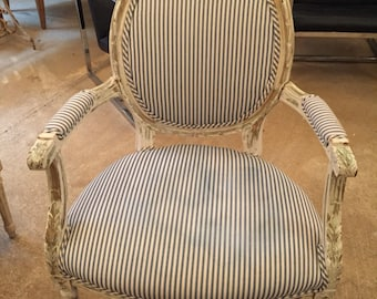 Antique French Chair Ticking Upholstery