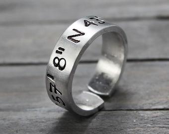 Latitude Longitude Ring, Custom Coordinates, Coordinate Ring, Longitude Latitude, Personalized Ring, Personalized Jewelry, hand Stamped
