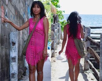 Cross Crochet Boho Dress with long Fringe/ White, Beige,Brown Crochet  dresses/Bikini cover up/Festival Crochet Dress/Bohemian crochet dress