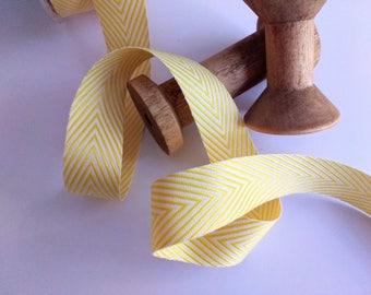 yellow stripe ribbon, 3 yards, twill, chevron, gift wrap, hair bows, packaging