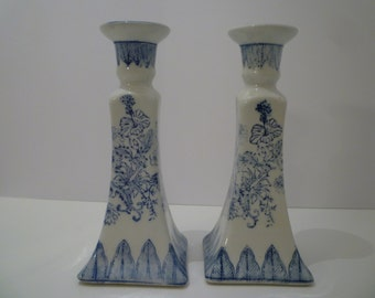 CANDLEHOLDERS BLUE TRANSFERWARE. Vintage Cottage Decor. Blue and White Ware. Elegant Blue and White Candleholders