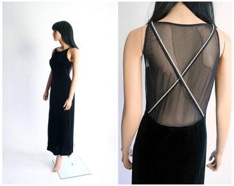 90s Black Velvet Maxi Dress Sheer Open Back Illusion Vamp 1990s Glitter Goth Rhinestone Noir Cocktail Party Evening Stretch Medium Large