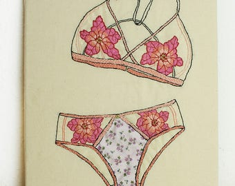 "Textil Art, Embroidery, ""Lingerie 1"""