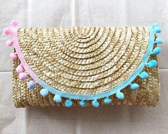 Cotton Candy Pom Pom Straw Clutch; trendy clutch; boho chic clutch; summer clutch