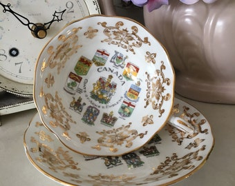 Vintage Paragon Canada Coats of Arms and Emblems Cabinet Cup & Saucer