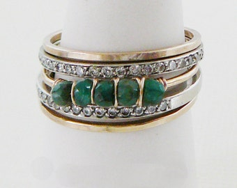 Emerald stacking Ring, Gemstone Jewelry 14kt Gold Filled thin skinny stacker trend bridesmaid bridal party
