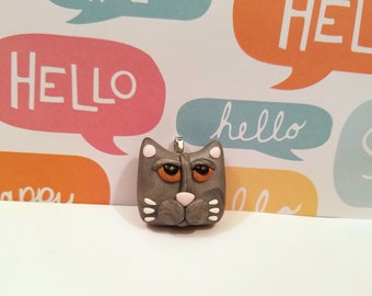 Cute Cat Jewelry, Gray Cat Pendant, Optional Necklace, Kitty Face, Cat Lover Gift, handmade polymer clay