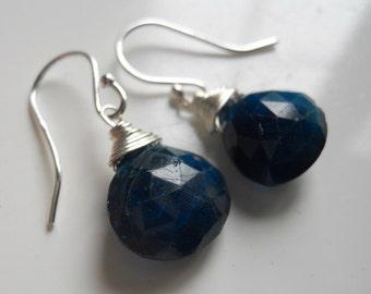Blue Apatite Single Dangle Earrings, Gemstone Earrings