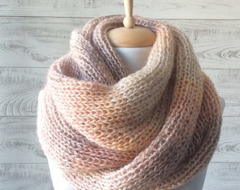 Oversize scarf, angora wool scarf, large infinity scarf, knit scarf, chunky scarf Fast Delivery