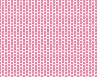 Pink Polka Dot Fabric - Riley Blake - Cotton Quilting Fabric - Girl's Clothing Material - Cotton Yardage, Fat Quarter, Half,  By The Yard