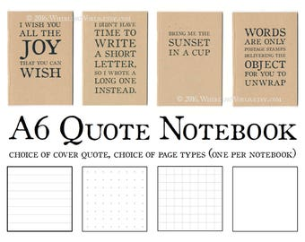 Quote Notebook, Use as Greeting Card and/or Gift | Recycled Kraft Pocket Journal | Functional Gift for Office | Quotation Gift for Writer