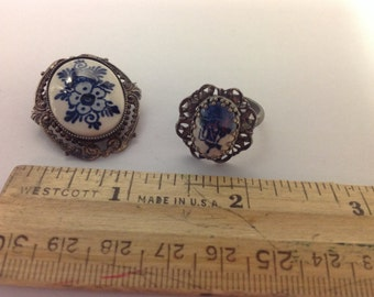 Vintage Blue Painted Brooch and Ring Set