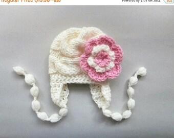 ON SALE 10% SALE Baby Girl Beanie  , Baby Girl Hat Photo Prop , Knit Baby Hat , Toddler Knit Hat , Newborn Baby Winter Hat