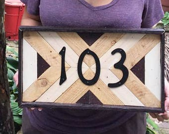 Custom Wooden Mid Century House Number Plaque