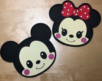 Mickey and Minnie inspired silicone coasters