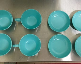 Melmac Cups and Bowls (4) Each. (8) Total